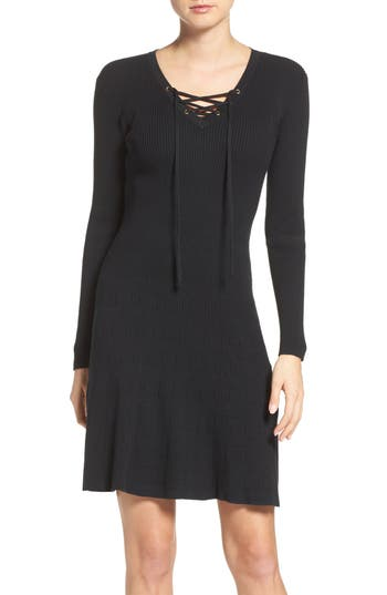 Fraiche By J Lace-Up Ribbed A-Line Dress, Black
