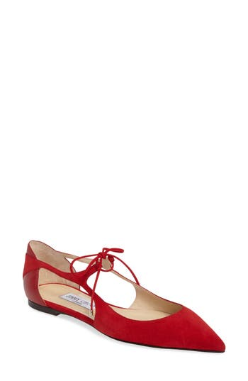 Jimmy Choo Vanessa Lace-Up Flat, Red