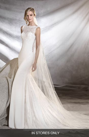 Pronovias Oreste Crepe & Lace Mermaid Gown