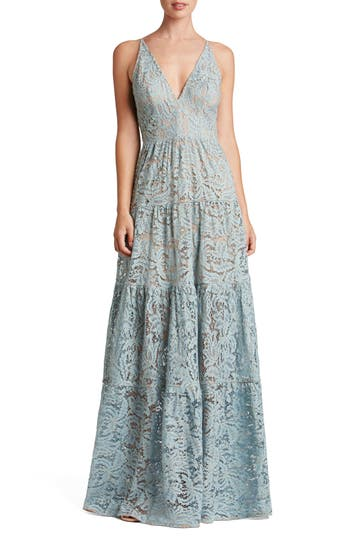 Dress The Population Melina Lace Fit & Flare Maxi Dress, Blue
