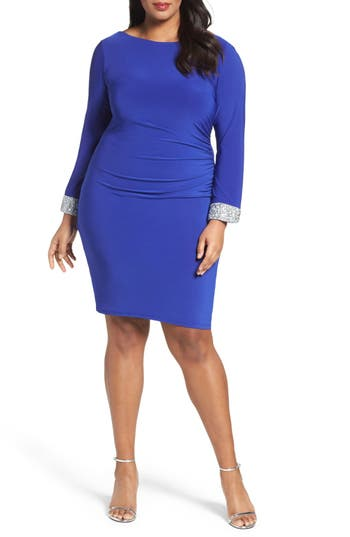 Plus Size Marina Open Back Sheath Dress, Blue