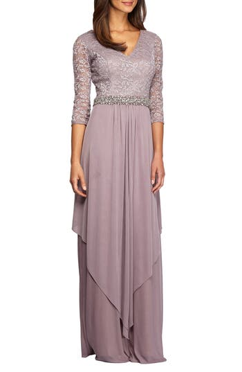 Women's Alex Evenings Embellished Lace & Chiffon Gown