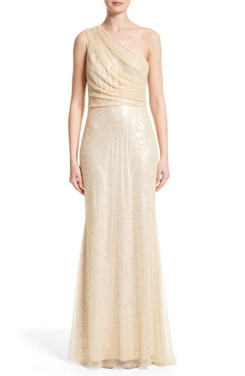 Badgley Mischka Couture One Shoulder Beaded Mesh Gown