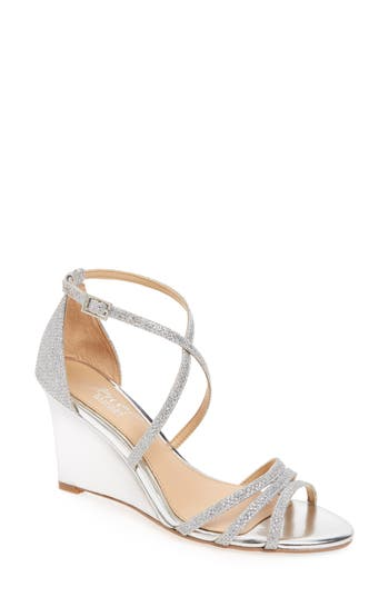 Jewel Badgley Mischka Hunt Glittery Wedge Sandal, Metallic
