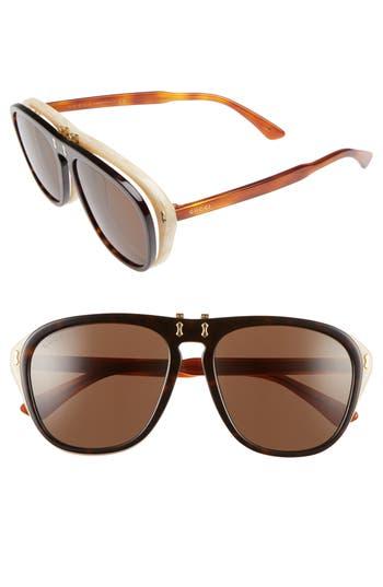 Women's Gucci 56Mm Flip-Up Sunglasses - Havana/ Brown