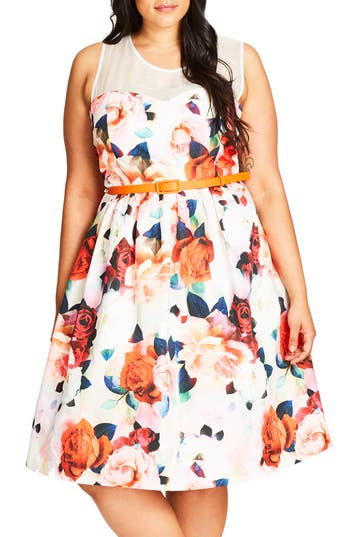 Plus Size City Chic Floral Fever Belted Illusion Yoke Dress