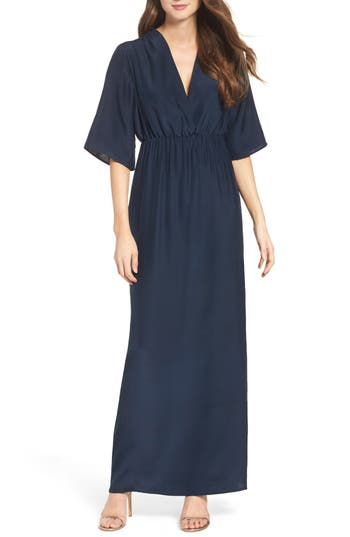 Natalie Deayala Collection Flutter Sleeve Silk Gown, Blue