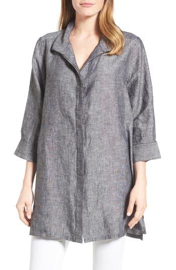 Foxcroft Chambray Linen Tunic, Black