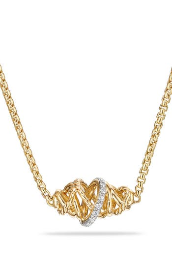 Women's David Yurman Crossover Station Necklace In 18K Gold With Diamonds