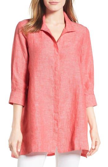 Foxcroft Chambray Linen Tunic, Pink