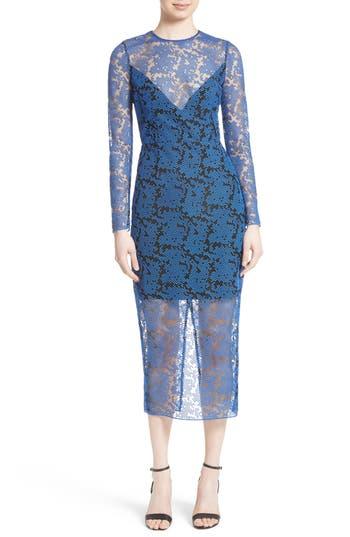 Diane Von Furstenberg Embroidered Mesh Midi Dress
