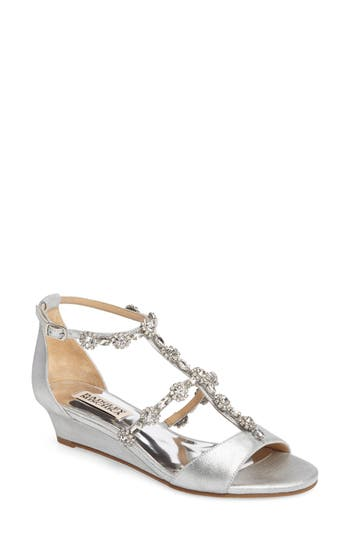 Badgley Mischka Terry Ii Crystal Embellished Wedge Sandal