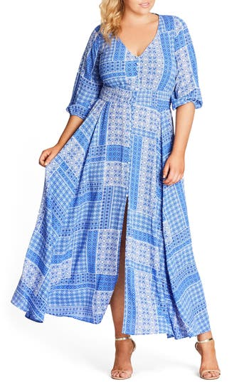 Plus Size Women's City Chic China Plate A-Line Maxi Dress
