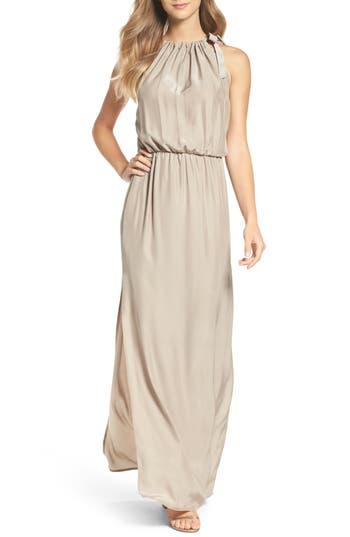 Natalie Deayala High Neck Silk Column Gown, Beige