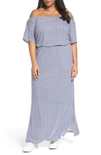 Plus Size Sejour Off The Shoulder Maxi Dress, White