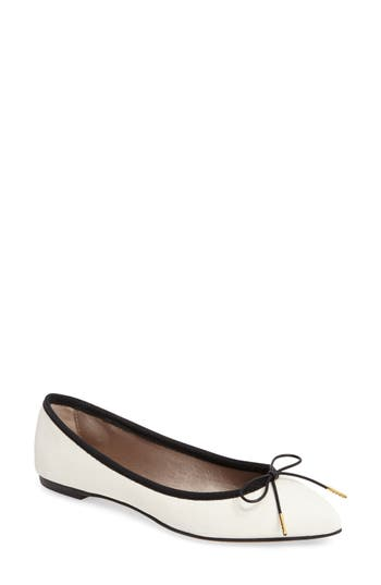 Agl Sacchetto Pointy Toe Flat, White