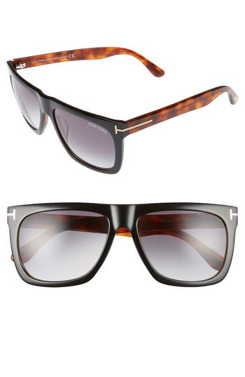 Men's Tom Ford Morgan 57Mm Sunglasses - Black/ Other / Gradient Smoke