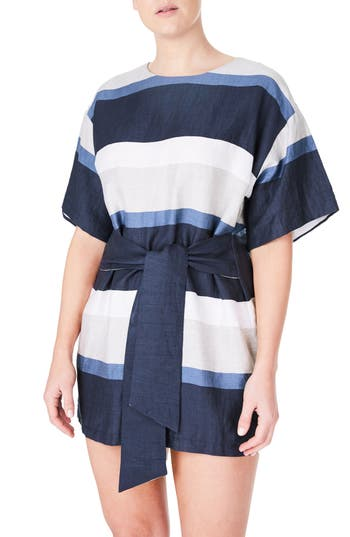 Plus Size Elvi Blue Stripe Linen Blend Minidress