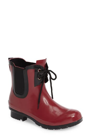 Roma Waterproof Chelsea Rain Boot, Red