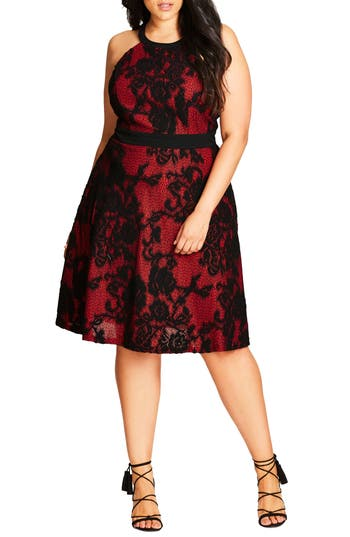 Plus Size City Chic Lace Fit & Flare Dress, Red