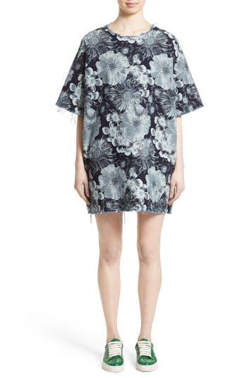 Women's Marques'Almeida Oversized Floral Print T-Shirt Dress, Size X-Small - Blue