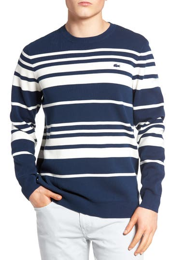 Men's Lacoste Milano Stripe Sweater, Size 5(l) - Blue