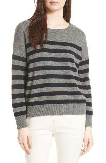 Women's Vince Button Shoulder Stripe Cashmere Sweater, Size X-Small - Grey
