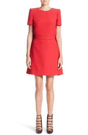 Alexander Mcqueen Wool & Silk Cape Minidress, US / 40 IT - Red