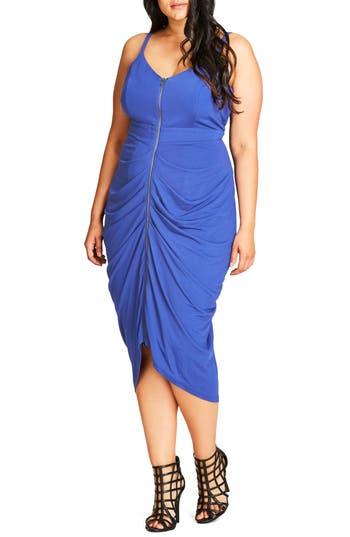 Plus Size City Chic Zip Front Body-Con Dress, Blue