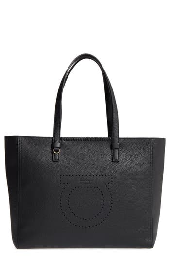 Salvatore Ferragamo Large Grained Leather Tote -