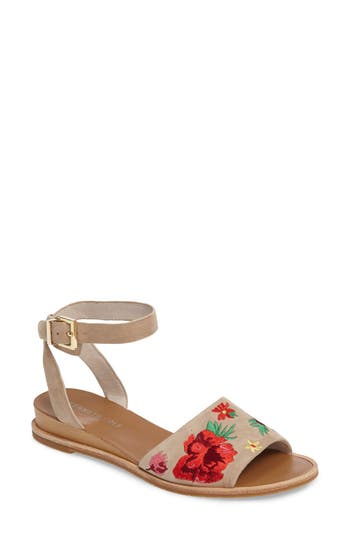 Kenneth Cole New York Jory Embroidered Sandal, Brown