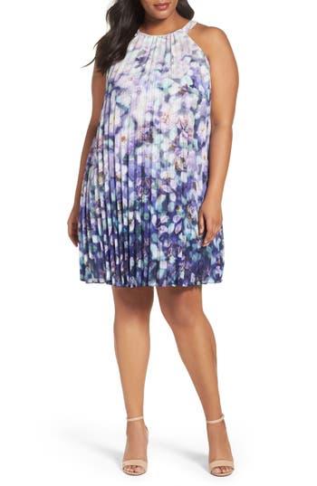 Plus Size Adrianna Papell Fading Splendor Pleat Shift Dress