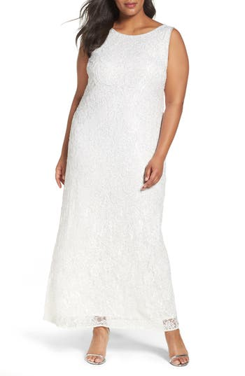 Plus Size Women's Pisarro Nights Embellished Lace Gown