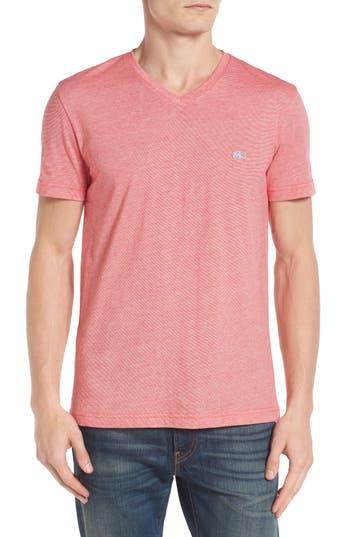 Lacoste Stripe V-Neck T-Shirt, Red