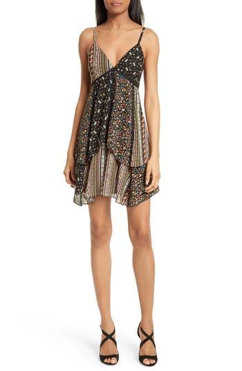 Alice + Olivia Delilah Tiered Print Stretch Silk Dress, Brown