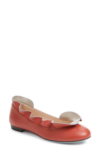 Fendi Ruffle Ballerina Flat, Red