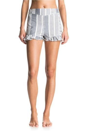 Women's Roxy All Perfect Cotton Ruffle Hem Shorts, Size X-Small - Blue