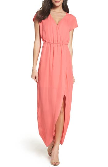 Charles Henry Faux Wrap Woven Maxi Dress