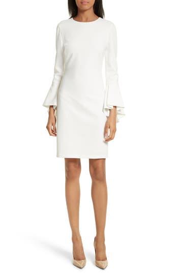 Alice + Olivia Dora Bell Sleeve Shift Dress, White