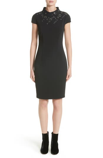 St. John Collection Stretch Cady Funnel Neck Dress, Black