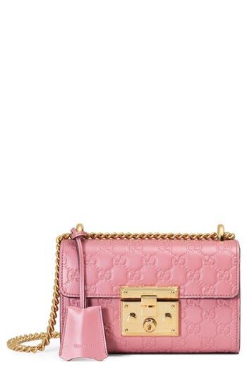 Gucci Small Padlock Signature Leather Shoulder Bag - Pink