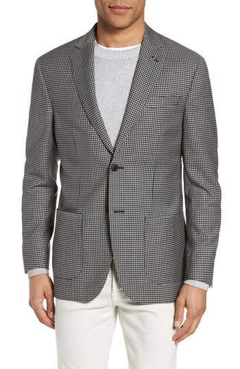 Michael Bastian Classic Fit Check Wool Sport Coat Black