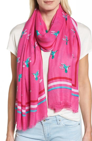 Women's Kate Spade New York Hummingbird Oblong Scarf, Size One Size - Pink