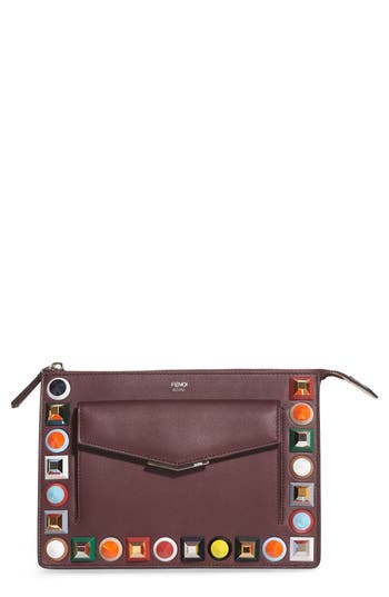 Fendi Mini Studded Leather Zip Pouch - Burgundy