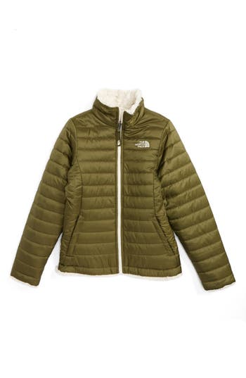 Girl's The North Face 'Mossbud Swirl' Reversible Water Resistant Jacket, Size M (10-12) - Green