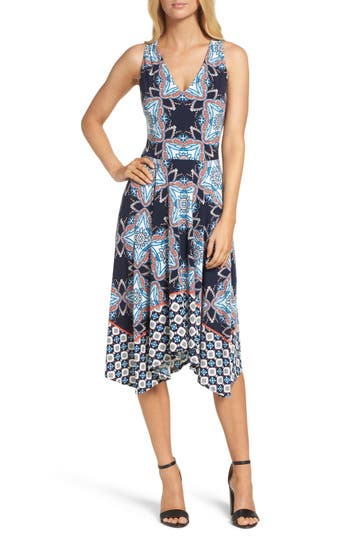 Women's Maggy London Print Fit & Flare Dress, Size 2 - Blue