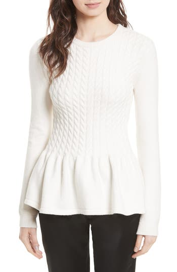 Women's Ted Baker London Mereda Cable Knit Peplum Sweater, Size 5 - White