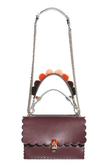Fendi Kan I Scallop Leather Shoulder Bag - Burgundy