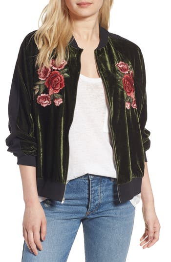 Women's Bp. Floral Embroidered Bomber