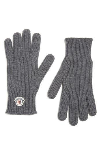 Moncler Logo Patch Knit Wool Gloves, Grey